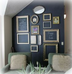 chalkboard wall with empty frames...this would be cool in a classroom. Great for highlighting students' work!