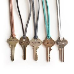 Hand Stamped Key Necklace on Leather Vintage Keys Handmade