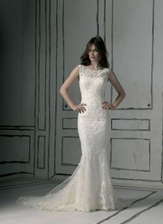 Justin Alexander wedding dresses style 8530 A lovely lace mermaid gown that has a bateau neckline