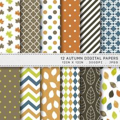 Autumn Leaves Printable Paper Pack / Fall Digital Paper / INSTANT DOWNLOAD / by AzmariDigitals