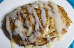 These cinnamon swirl pancakes are amazing with the cream cheese/powdered sugar frosting. Word to the wise the are RICH so don't make many and marscapone can be substituted for the Philadelphia cream cheese