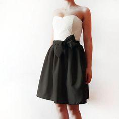 Contrast Bridesmaids dress, black white bridesmaid dress, black bridesmaid mini dress, strapless bridesmaids dress, cotton, chiffon and lace. $135.00, via Etsy.