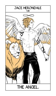 Jace Herondale's Tarot card by Cassandra Jean. Jace takes the place of the Strength Card, only as an angel!
