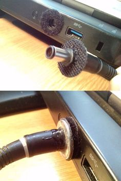 Slippery laptop charger? No problem, I give you VelcSafe (x-post /r/techsupportmacgyver) - Imgur