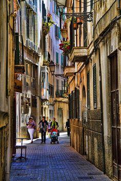 Palma Mallorca Majorca, Spain...beautiful streets...lots of shops and boutiques, restaurants, al fresco cafes