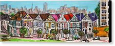 San Francisco Canvas Print featuring the painting San Francisco Victorian Houses by Rubino CELINE