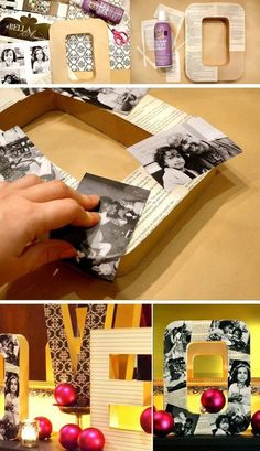 DIY Decorative Photo Letters. Old book pages, vintage photos that you cherished for many years...totally add more elegance to any decor style!