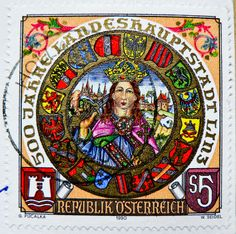 great stamp Austria S 5.00 Friedrich III. (Frederick III. 'The Peaceful' 1415-1493, Holy Roman Emperor & 1st Emperor of House of Habsburg; 500th anniversary of Capitol City Linz)
