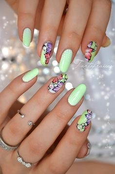 101 Cute Flower Nail Designs that're too attractive to handle Nail Art Designs, Flower Nail Designs, Flower Nail Art, Cute Nails, Pretty Nails, Crazy Nail Art, Nails Only, Geometric Nail, Manicure E Pedicure