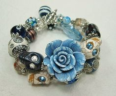 BLUE Day of the Dead / Dia de los Muertos by CayaCowgirlCreations, $35.00