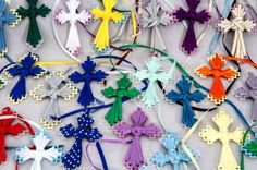 weaving ribbon cross plastic | Details about Lot of 58 Plastic Canvas Cross Ribbon Bookmarks with ...