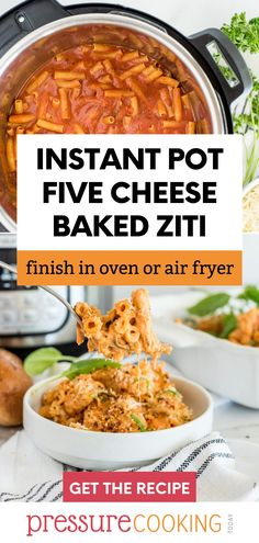 A two-image pinterest pin promoting Instant Pot five cheese baked ziti. The top image shows the pasta in the Instant Pot before cooking, the bottom image shows a spoonful of the ziti in front of an Instant Pot. via @PressureCook2da Pressure Cooker Recipes Pasta, Instant Pot Pressure Cooker, Pasta Sauce Recipes, Pasta Dinner Recipes, Five Cheese Ziti, Instant Pot Pasta Recipe, Pressure Cooking Today, Pasta Shapes, Baked Ziti