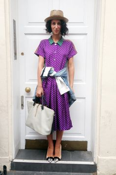 Yasmin Sewell, via the vogue.co.uk blog. Polka dots, color, ease -- and a shirtdress.