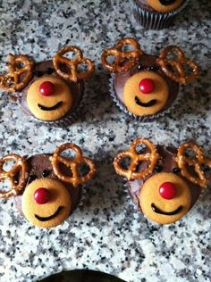My reindeer cupcakes for the school Christmas party. So easy and the kids loved them.