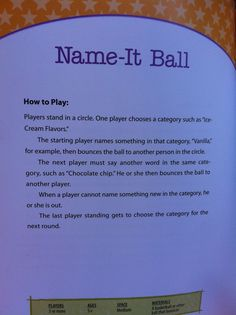 Outdoor games for kids – Name-It Ball. Ages for 3 or more players – Outdoor games for kids – Name-It Ball. Ages for 3 or more players –