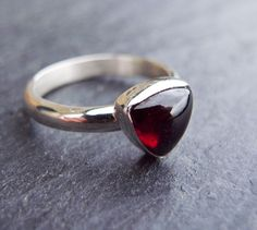 Garnet Ring, January Birthstone, Sterling Silver Ring, Silver Jewelry, Red Stone Ring size 6. $35.00, via Etsy.
