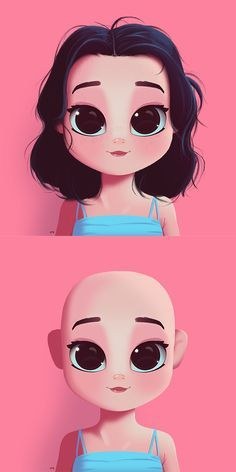Cartoon, Portrait, Digital Art, Digital Drawing, Digital Painting, Character Design, Drawing, Big Eyes, Cute, Illustration, Art, Girl, Hair Tutorial, Tutorial, Hair, Bald
