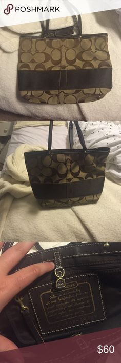 Coach Signature Stripe Tote (old version) Authentic coach signature stripe tote. This tote was released before the rerelease of the bag with a zipper. DUSTBAG AND ORIGINAL TAGS INCLUDED 100% AUTHENTIC Coach Bags Totes