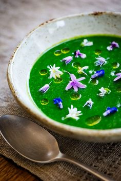 asparagus soup with chive oil and edible flowers from the ga.- asparagus soup with chive oil and edible flowers from the garden asparagus soup with chive oil and edible flowers from the garden - Smoked Salmon Salad, Flower Food, Flower Ideas, Dandelion Recipes, Asparagus Soup, Edible Flowers, Food Presentation, Food Plating, Food Design