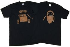 Disney Wall-e and Eve Couples Bleached T-shirt