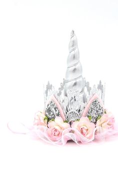 Unicorn flower lace crown headband silver pink ivory