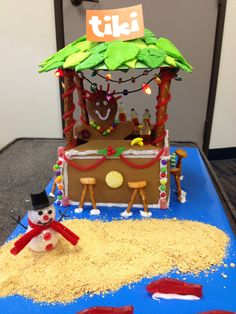 Tiki Gingerbread House- we had a contest at work by dept and everyone did a different house