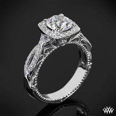 Verragio 4 Prong Cushion Halo Diamond Engagement Ring
