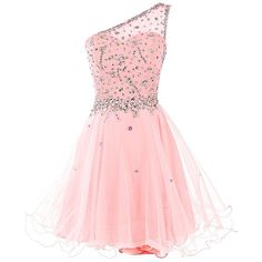 Dresstells Short One Shoulder Prom Dresses Tulle Homecoming Dress with... (4.355 RUB) ❤ liked on Polyvore featuring dresses, pink tulle dresses, homecoming dresses, beaded cocktail dress, short prom dresses and pink dress