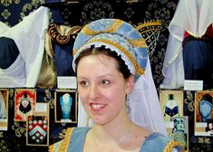 Pale Blue Brocade and Velvet Flemish Hood, Fine Goldwork 'S'-ing around Jewels, Gold Braid and a Long Fine Veil (Kats Hats)