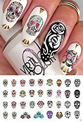 Sugar Skull Nail Art Day of the Dead Decals Assortment - Featured in Rachael Ray Magazine October * More info could be found at the image url. (This is an affiliate link) Halloween Nail Designs, Halloween Nail Art, Halloween Skull, Sugar Skull Nails, Skull Nail Art, Sugar Skulls, Nail Art Stickers, Nail Decals, Mary Janes