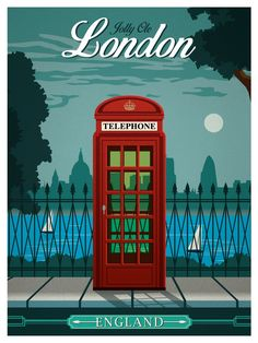 vintage travel posters | Image of Vintage London Travel Poster...reépinglé par Maurie Daboux.•*´♥*•❥ڿڰۣ--