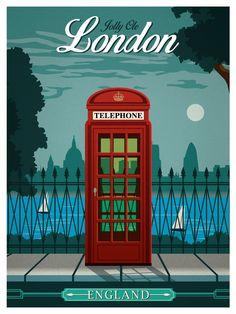 vintage travel posters | Image of Vintage London Travel Poster