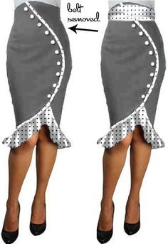 Ruffles Pencil Skirt Altered  by Amber Middaugh -Save 37% at Chicstar.com Coupon: AMBER37