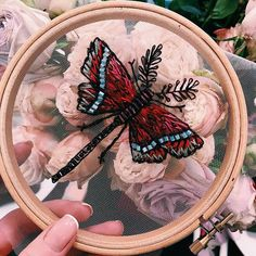 """Artist Hand-Stitches """"Floating Embroidery"""" on Translucent Tulle Fabric"""