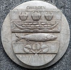 Gmunden Coat of Arms Stone Plaque in Linz (Austria) -- photo by Lawrence Chard