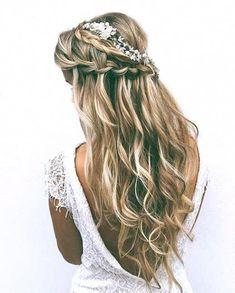Half Up Wedding, Wedding Hairstyles Half Up Half Down, Long Hair Wedding Styles, Half Up Half Down Hair, Wedding Hair Flowers, Flowers In Hair, Short Hair Styles, Gown Wedding, Lace Wedding