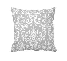 11 Available Sizes: Euro Pillow Cover Throw Pillow Decorative Pillow Grey Pillow Gray Pillow Damask Pillow Sofa Pillow Grey Home Decor