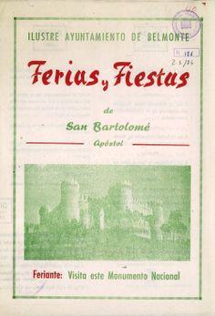 Feria y Fiestas de San Bartolomé en Belmonte (Cuenca) del 24 al 28 de agosto de 1966 Feria de Ganado Lanar y Feria-Exposición de Maquinaria Agrícola #Fiestaspopulares #Belmonte #Cuenca