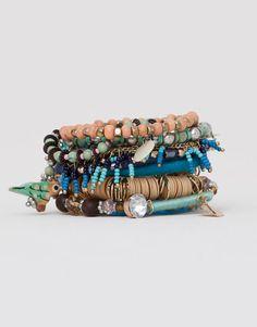 Pull&Bear - mujer - novedades - pack 8 pulseras variadas - azul - 05994381-V2015