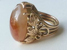 Honey Jade and 14 K Yellow Gold Ring with Grape by LaPellegrina808, $975.00