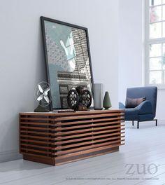 Zuo Linea Narrow TV Stand Walnut Walnut – Modish Store