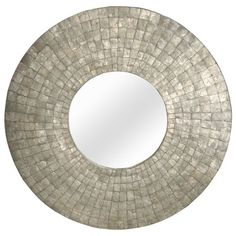 Featuring a circular silhouette and capiz shell mosaic frame, this artful wall mirror brings chic style to your parlor or hallway. Hang it alone for a...