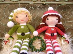 Beau and Belle Christmas Winter Dolls Amigurumi by mojimojidesign, $4.50