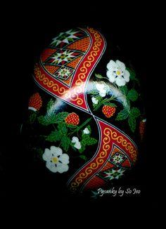 Strawberries Pysanka Batik Blue Duck Easter Egg Art EBSQ by sojeo, $150.00