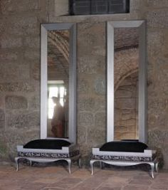 Modern Glamour twin mirror and bench