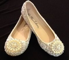 Bridal Ballerina Flats with Beaded Appliqué and Rhinestones, Hand Embellished
