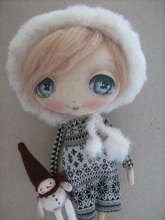 Человечки ручной работы. Ярмарка Мастеров - ручная работа Девочка и снеговушка.... Handmade.