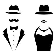 Stock Vector Vector - Gentleman and Lady Symbols. Man and Woman Head Silhouettes Stock Vector Vector - Gentleman and Lady Symbols. Man and Woman Head Silhouettes Silhouette Portrait, Silhouette Art, Silhouette Cameo Projects, Man And Woman Silhouette, Wc Icon, Fathers Day Cake, Lady And Gentlemen, Hats For Women, Photo Booth