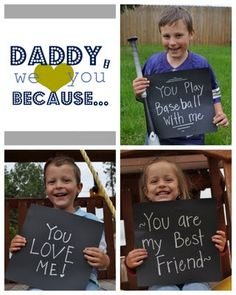 Daddy We Love You Because... Picture- Love this Father's Day present idea!