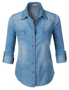 LE3NO Womens Long Sleeve Button Down Denim Shirt with Pockets